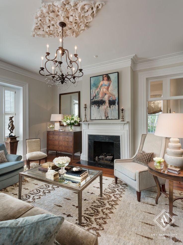 charleston home design%0A Amy Vermillion Interiors Historic Charleston Home love the ceiling  medallion