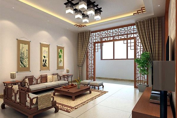 Attrayant Chinese Living Room Design With Retro Wood Sofa