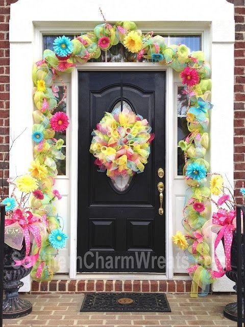 Bright Spring Door Garland And Wreaths Decorated Doors Deco Mesh