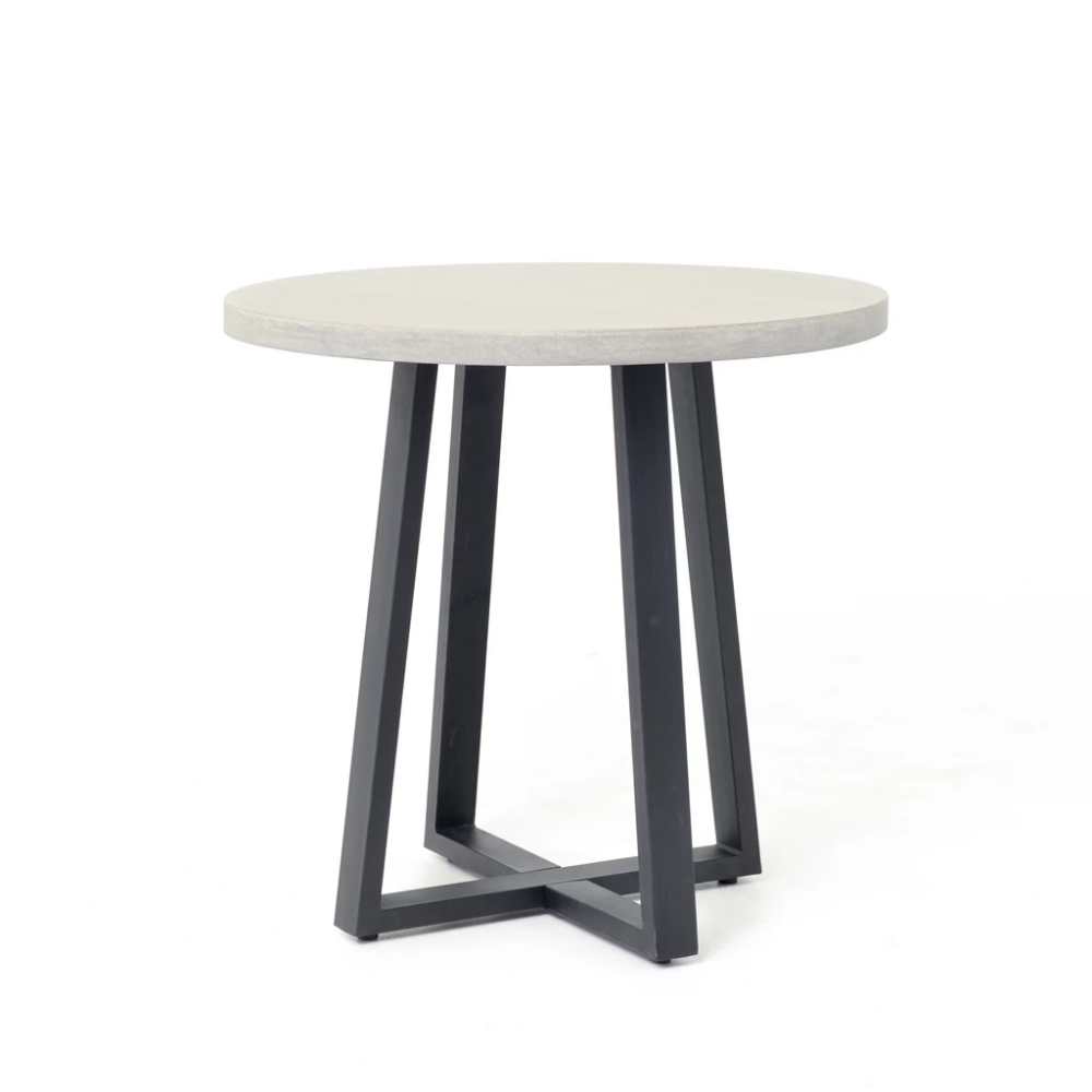 Small Cyrus Round Dining Table In Black Light Grey Round
