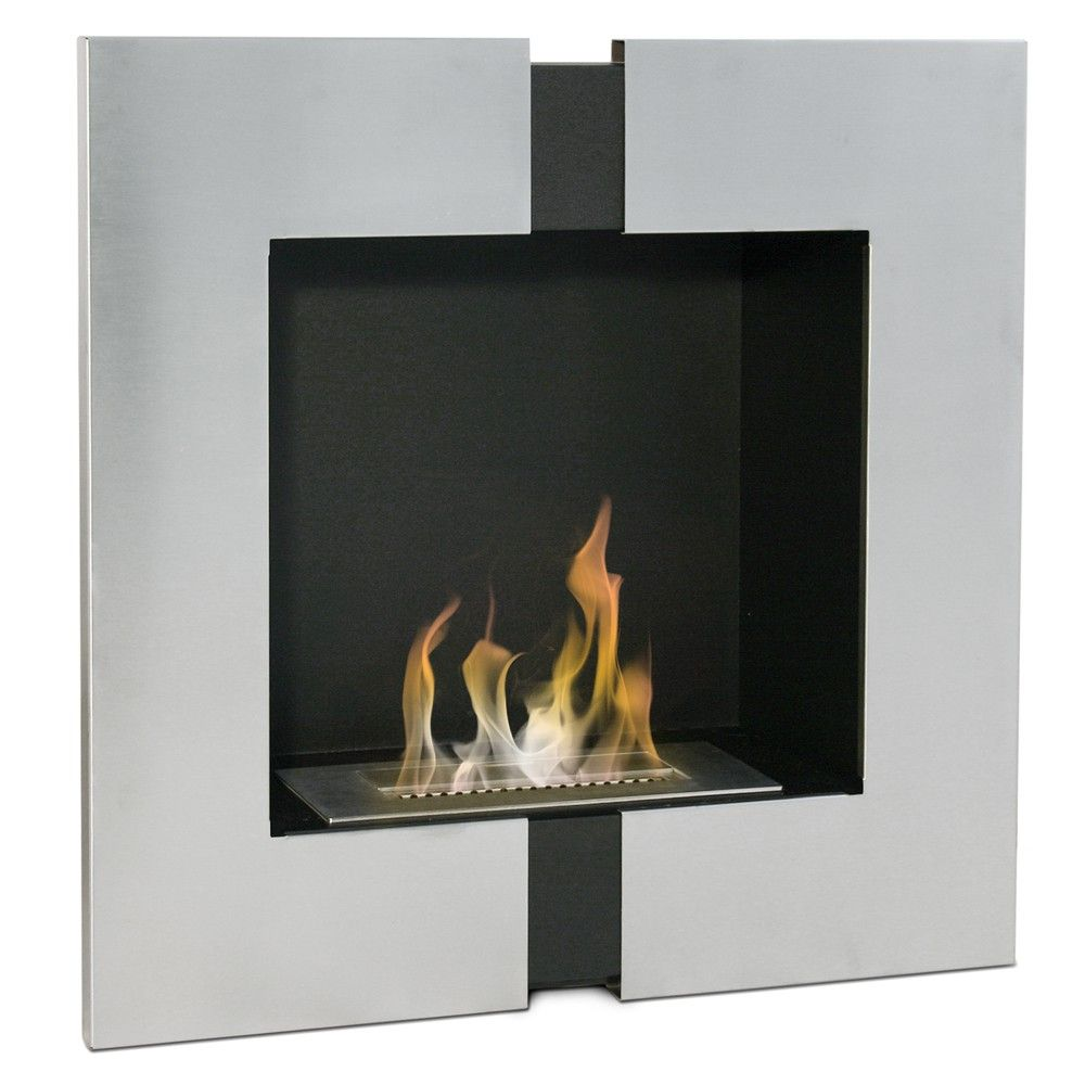 Bio camino bioetanolo design moderno acciaio 60x21x60 riscaldamento casa FP-004W
