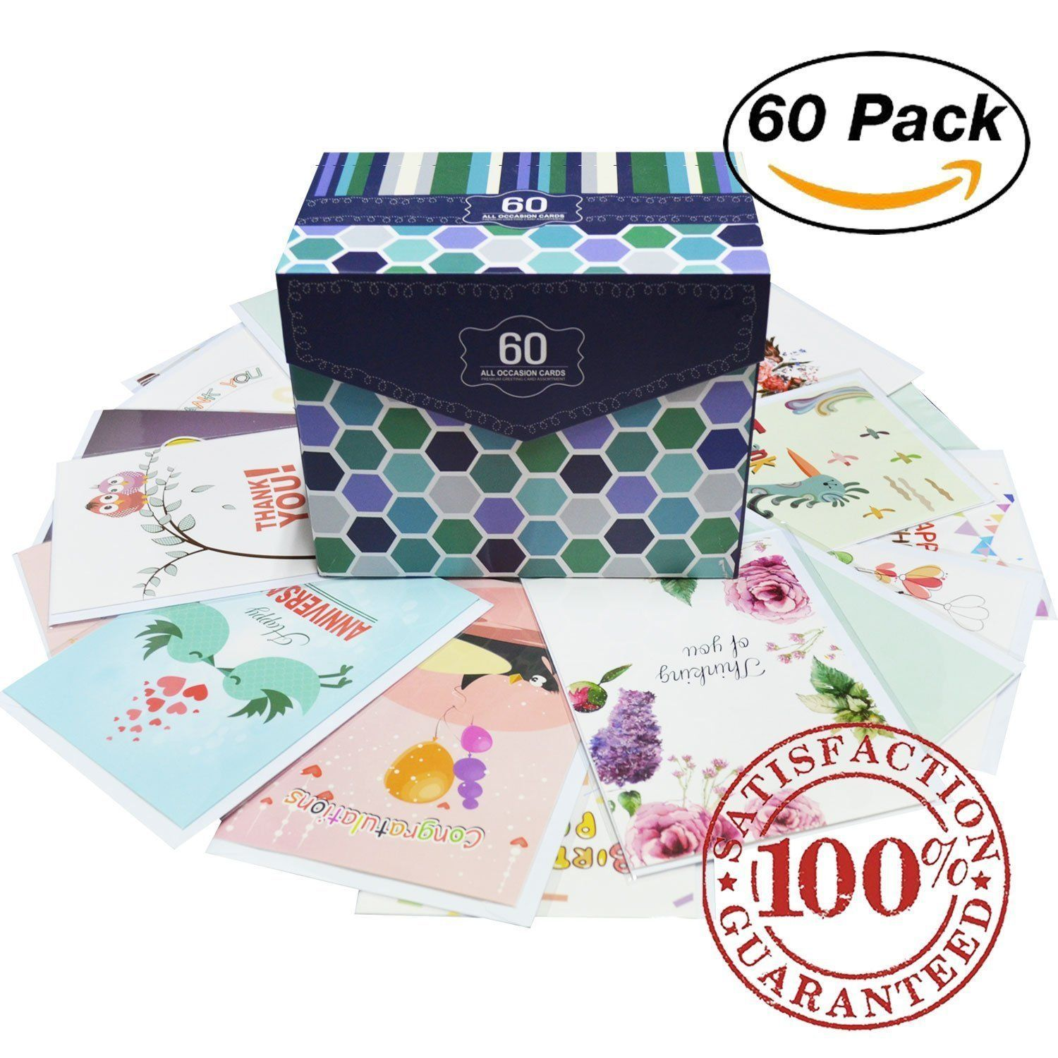 60 Pack Assorted All Occasion Greeting Cards