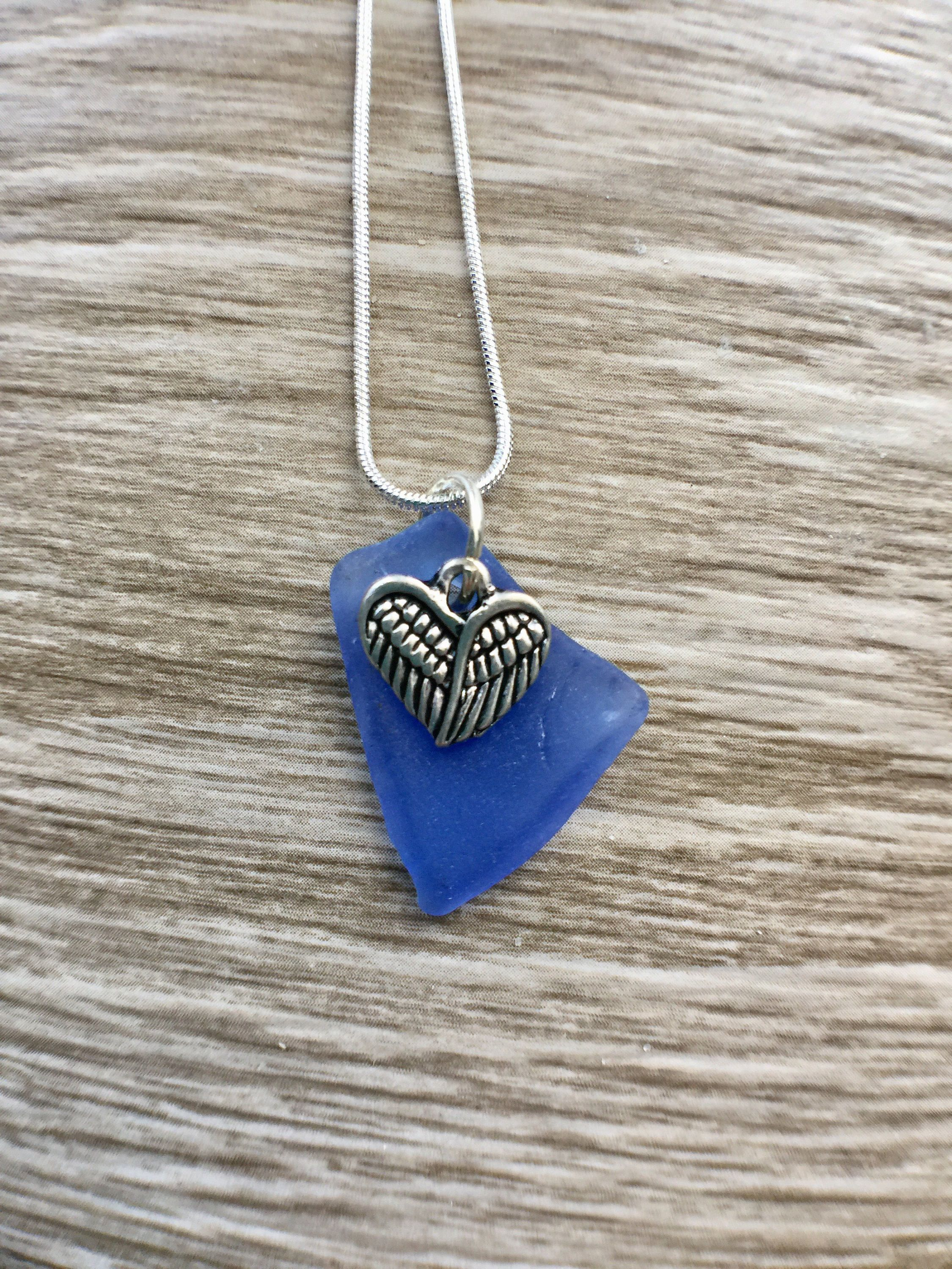 Cobalt blue sea glass necklace with angel wing heart beach lover cobalt blue sea glass necklace with angel wing heart beach lover gift for her aloadofball Choice Image