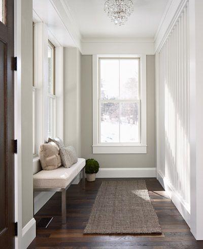 love the dark hardwood floors and the white trim