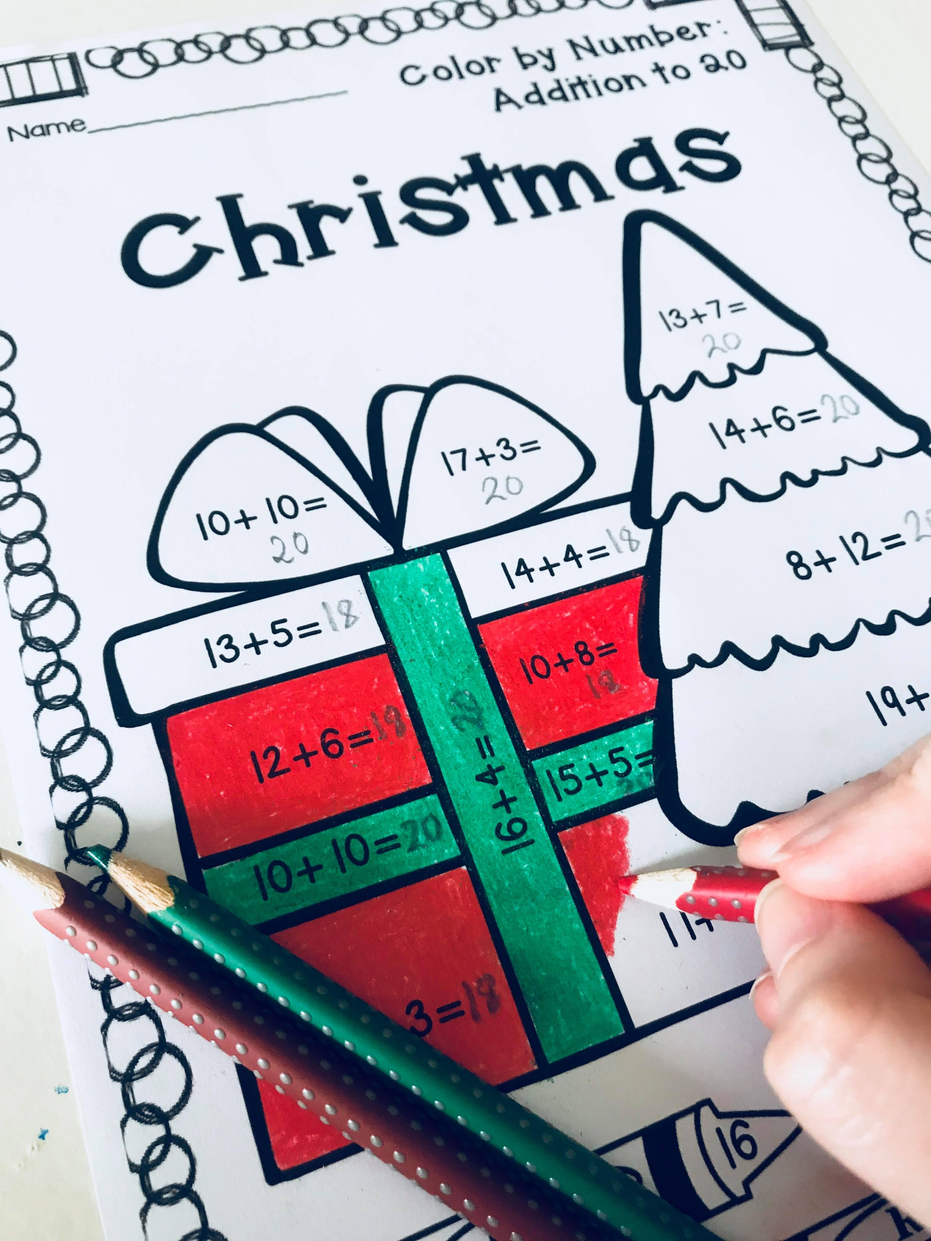 Christmas Color By Addition