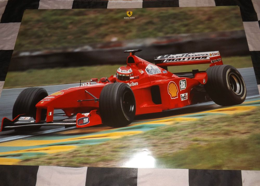 EDDIE IRVINE FERRARI F399 F1 OFFICIAL WORKSHOP POSTER PRINT GARAGE SIGN 1999 GP