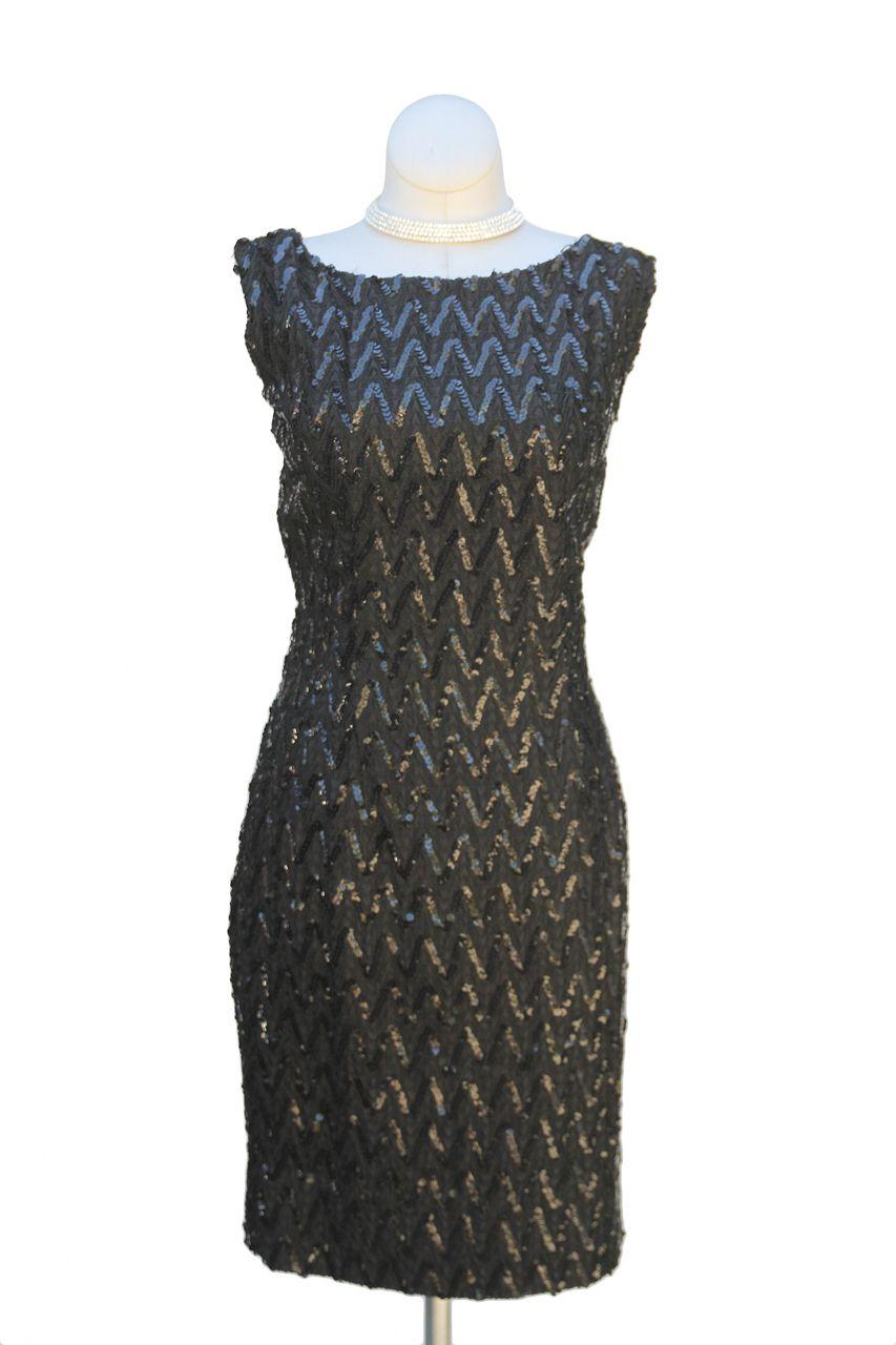 Cabaret Vintage - 1960s Black Sequin Wiggle Dress, $145.00 (http://www.cabaretvintage.com/new-arrivals/1960s-black-sequin-wiggle-dress/)