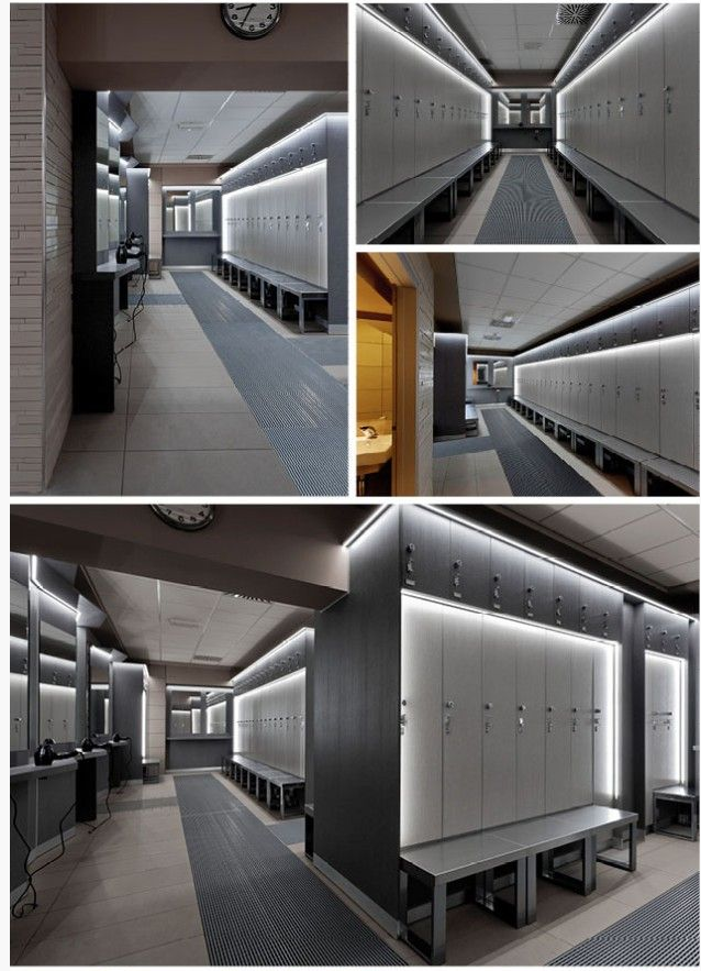 Modern Locker Room With Sophisticated Lighting Fitness