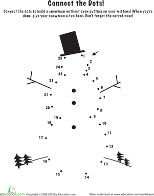 Snowman Dot to Dot | Seasons, Number worksheets and Kindergarten ...