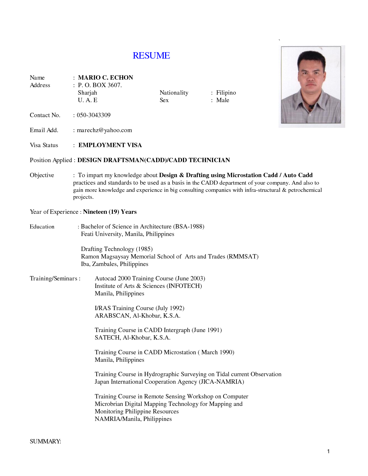 Implemented On The Job Application Technician Resume Sample
