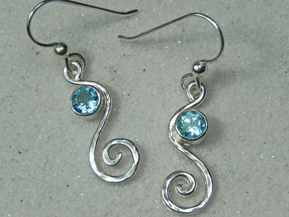 Sterling Silver Blue Topaz Swirl Earrings