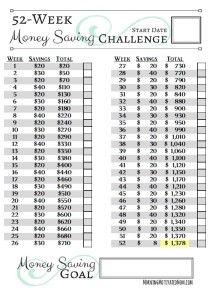 52 Week Money Saving Challenge Printables