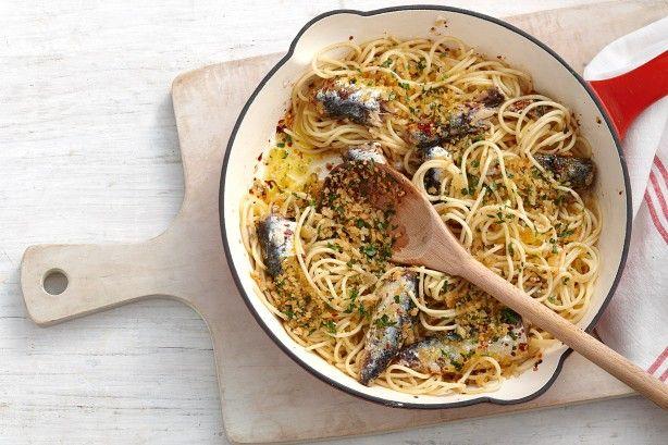 Spaghetti With Chilli Sardines And Garlic Breadcrumbs Recipe