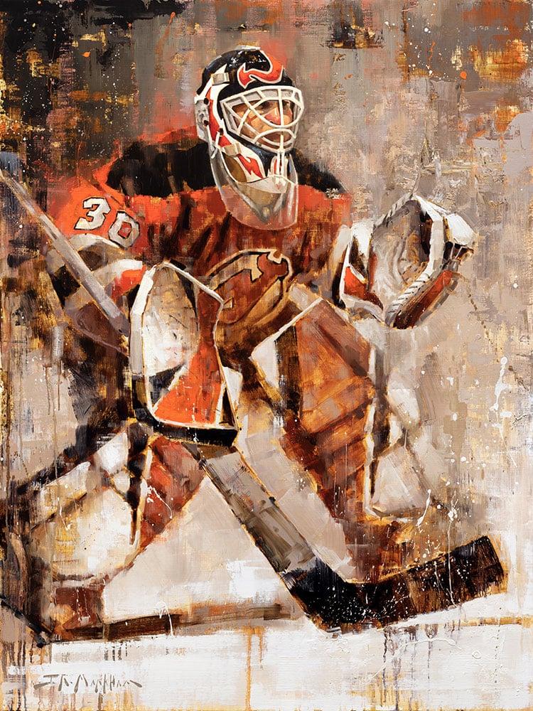 Martin Brodeur Canvas Print Hockey Art By Jerry R Markham In 2020 Sports Art Print Hockey Wall Art Sports Art