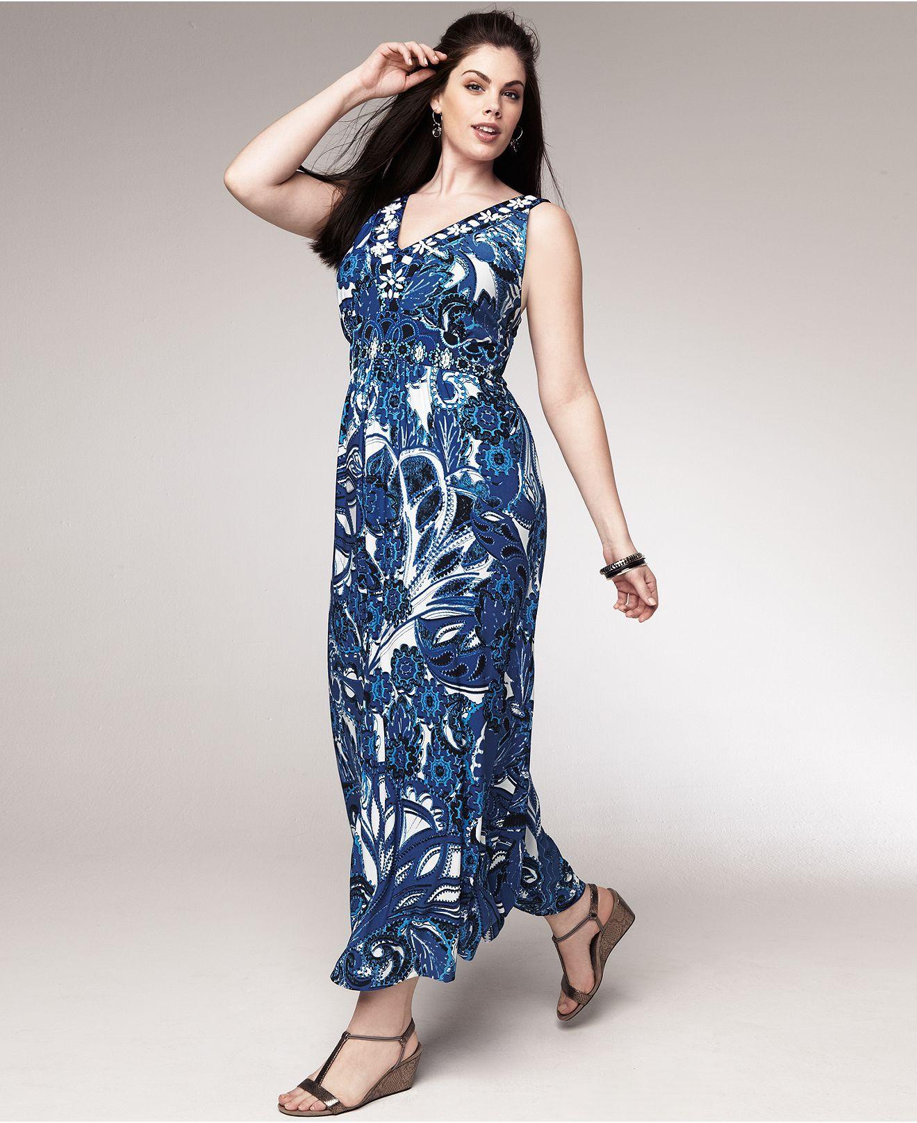 Style Plus Size Dress, Sleeveless Printed Maxi - Plus Size Dresses ...