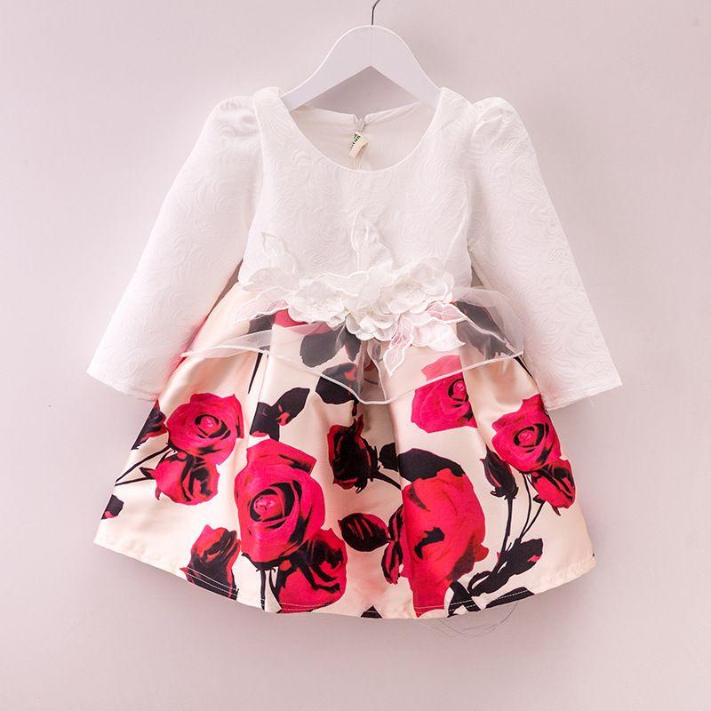 df241330c Barato Outono inverno vestido de moda para meninas Jacquard de algodão de  manga…