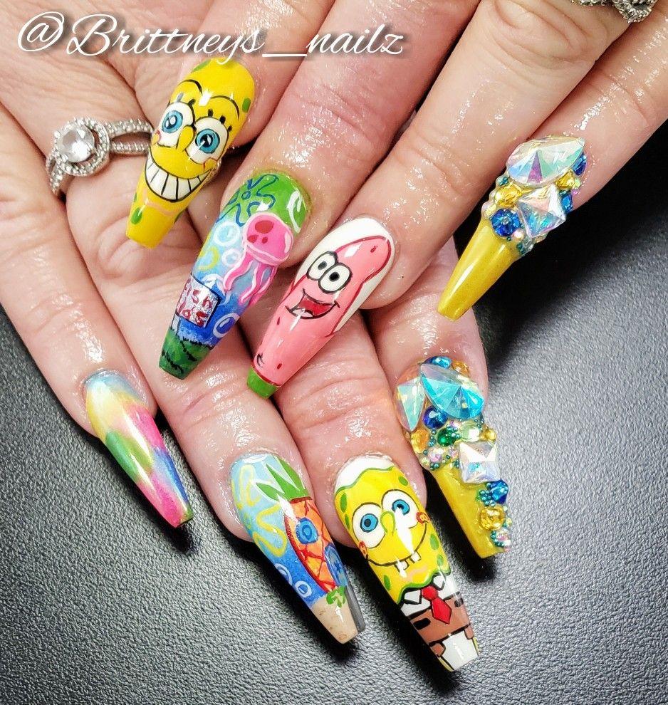 Spongebob In 2020 Spongebob Nails Long Acrylic Nails Spongebob Nail Art