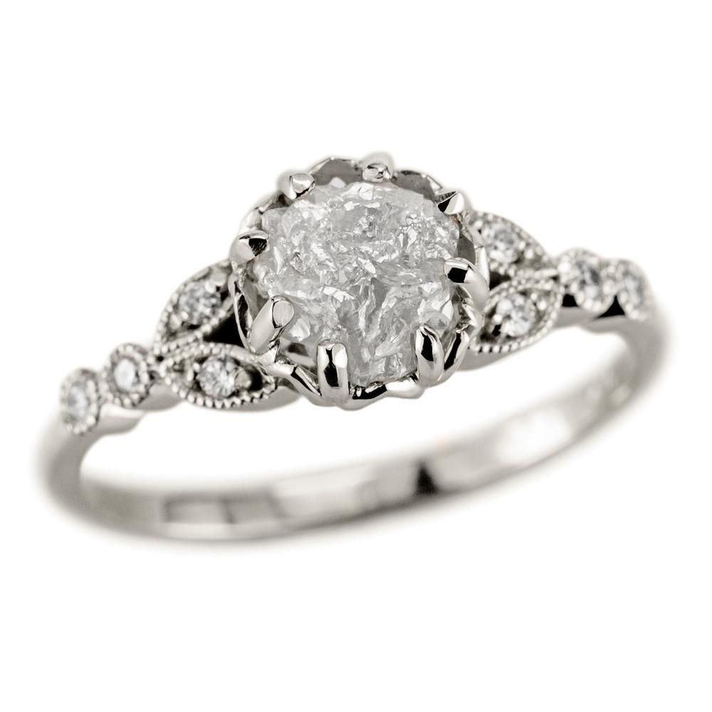 1.2 Carat Uncut Diamond Engagement Ring, 14k White Gold Clover Setting - Point No Point Studio - 3