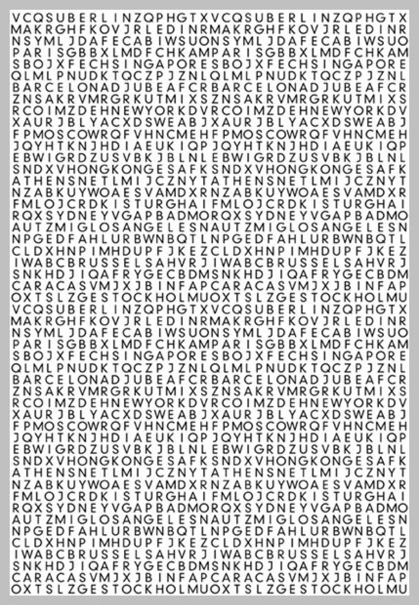 Secret Cities Mural (P110401-4) - Mr Perswall Wallpapers - A giant word search style image with city names hidden in the letters – hours of fun.