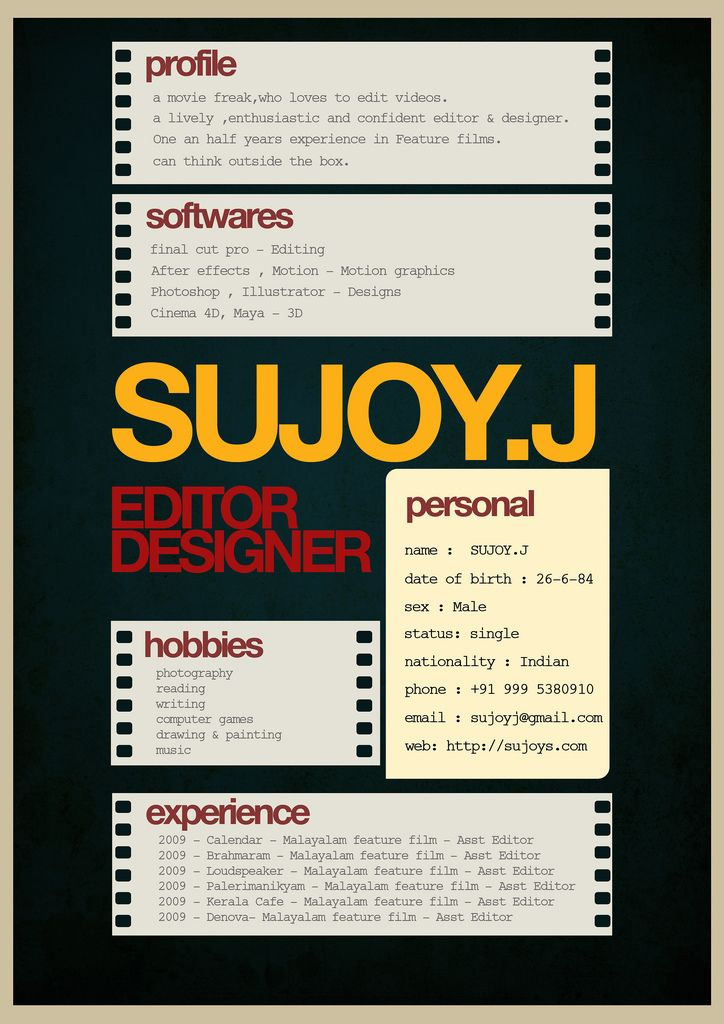 film reel resume