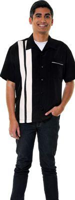 Black & Cream Striped Ricky Button Up Lounge Shirt