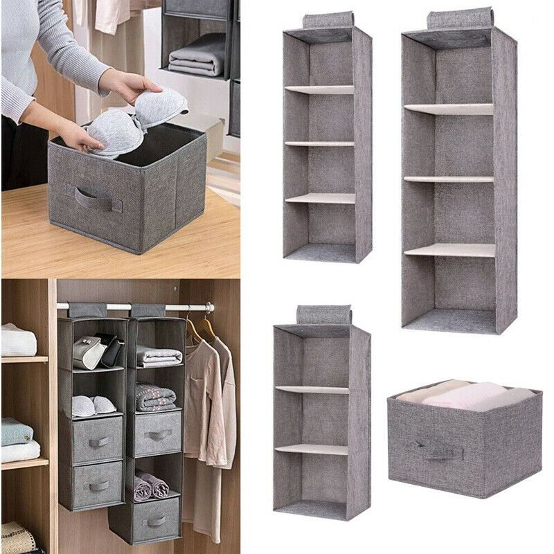 Details About Foldable Hanging Closet Clothes Hanging Organizer