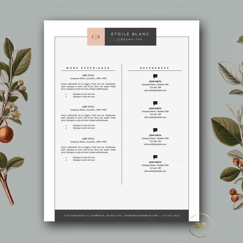 Hipster Resume Template For Word By Botanica Paperie On Creative Market