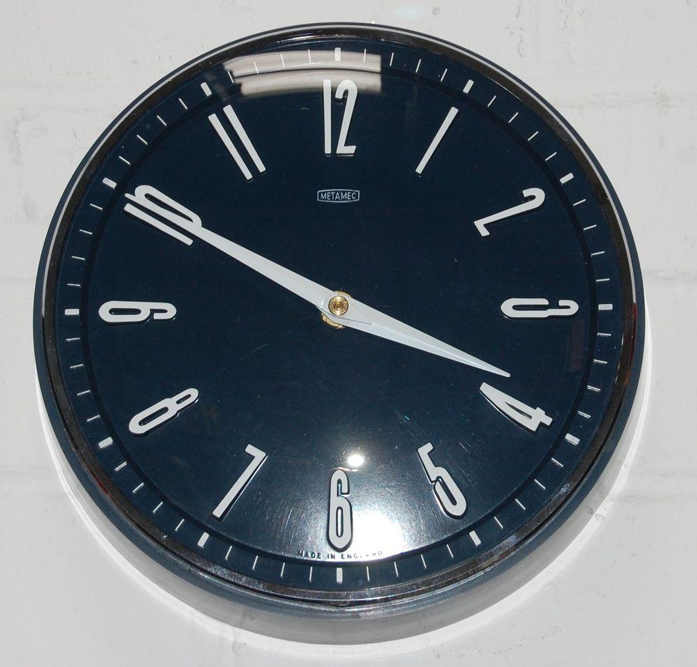 White Kitchen Wall Clocks Vintage Retro 1970s Metamec Blue White Kitchen Wall Clock Battery