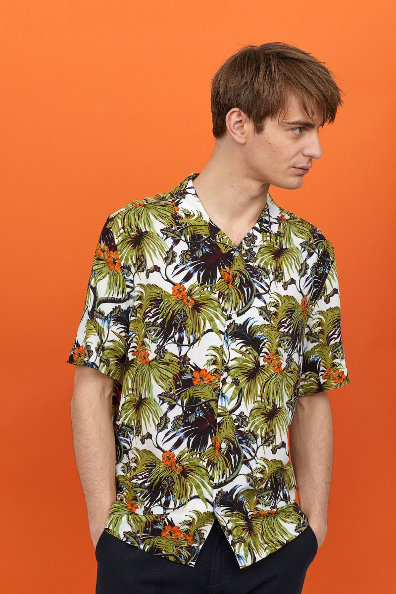 dbedd615 Resort shirt Relaxed Fit | White/Patterned | MEN | H&M ID | Shirts ...
