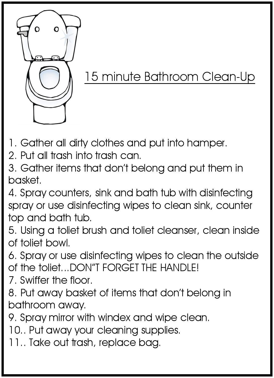 Lovely How To Clean A Bathroom Checklist | 15 Minute Bathroom Clean Up