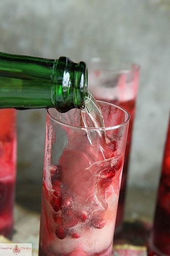 Raspberry Pomegranate Champagne Cocktail