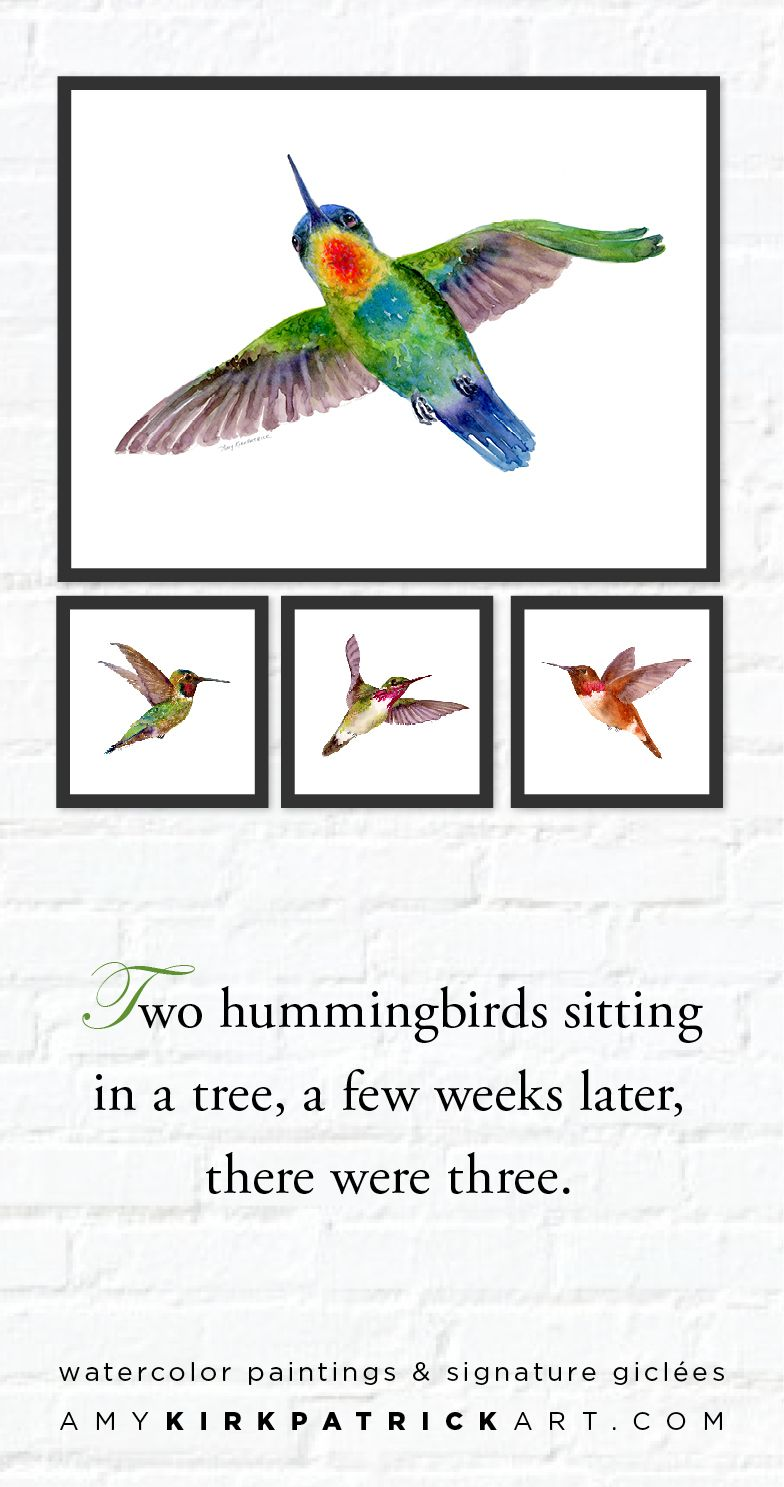 Choose from 8 hummingbird paintings in this series • Artist signed prints • AmyKirkpatrickArt.com