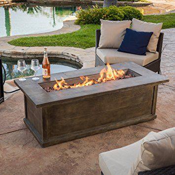 Pablo 56 Brown Rectangular Liquid Propane Fire Table Rectangular Fire Pit Fire Pit Table Fire Pit Patio Furniture