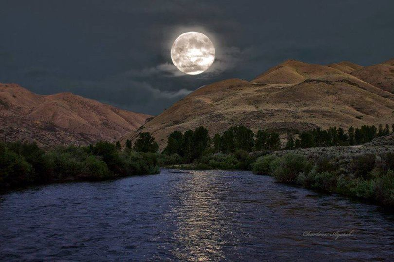 A Super Moon taken a couple of years ago on the Boise River below Prairie at the bridge on Prairie Road. ~Photo by Charlene Aycock
