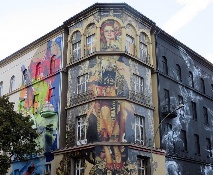 Urban art adorns a building in Bülowstraße, Berlin