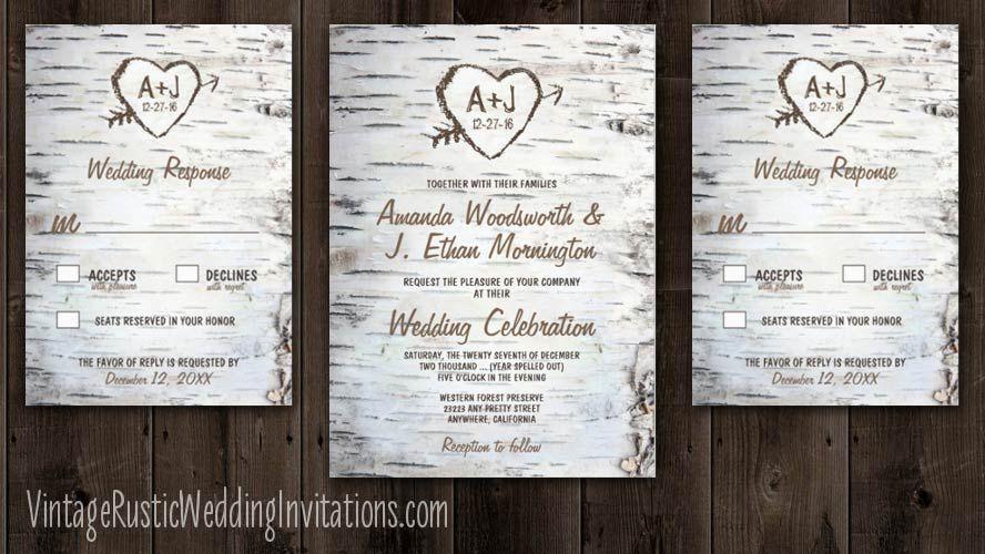 Birch Tree Bark Wedding Invitations