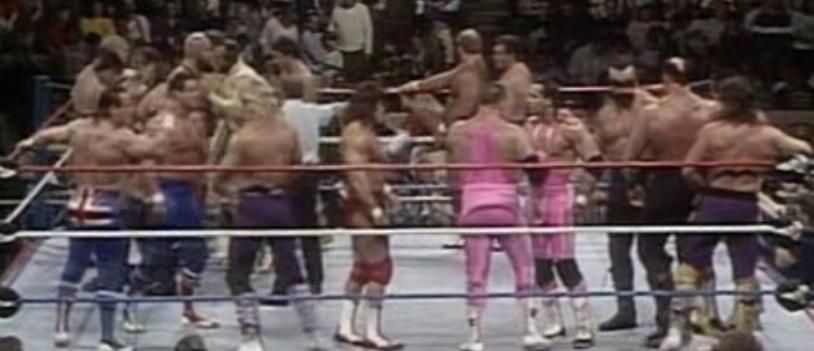 WWE SURVIVOR SERIES 1988 - Match of the night honors went to this thrilling 20-man tag team match with a memorable double turn between Powers of Pain and Demolition