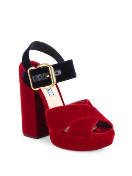 6b3d2fd69aa Prada - Bicolor Velvet Crisscross Platform Sandals