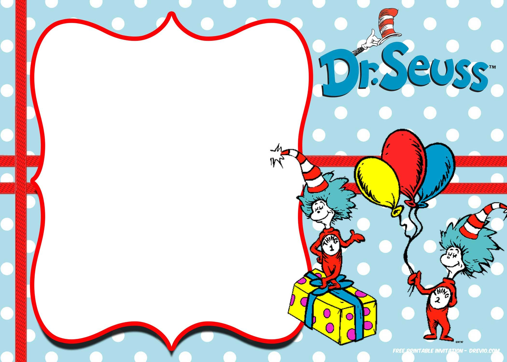 Cool Free Thing 1 And 2 Dr Seuss Invitation Templates