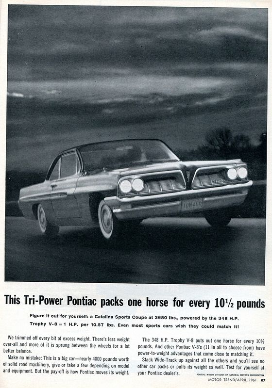 1961 Pontiac Catalina coupe -Ad in Motor Trend magazine, April 1961.