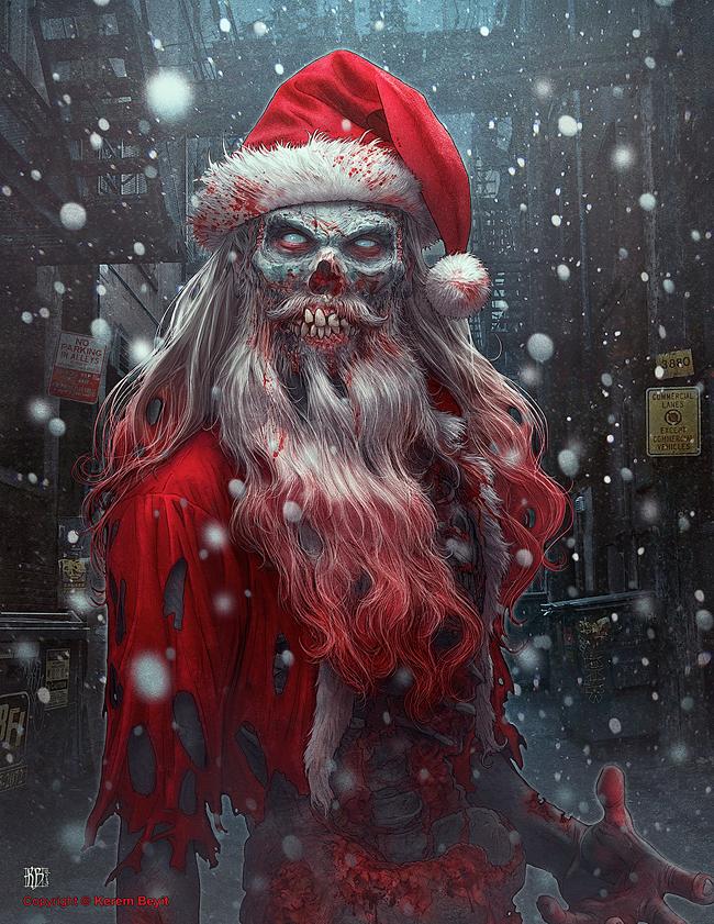 Evil Santa Claus Kerem Beyit In 2020 Christmas Horror Creepy Christmas Zombie Art