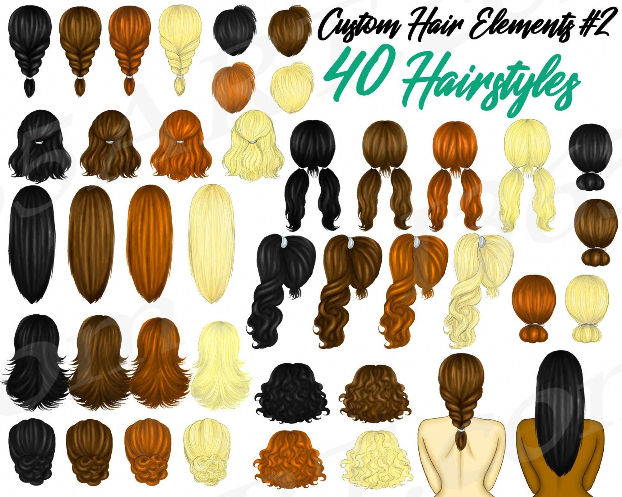 Custom Hairstyles Clipart Hairstyles Basic Hairstyles Womens Hair Long Hairstyles Short Hairstyles Diy Planner Fashion Illustration Basic Hairstyles Hair Clipart Hair Styles