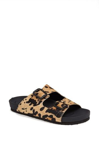 steve madden 'boundree' calf hair birkenstock-style leopard sandal {40% now