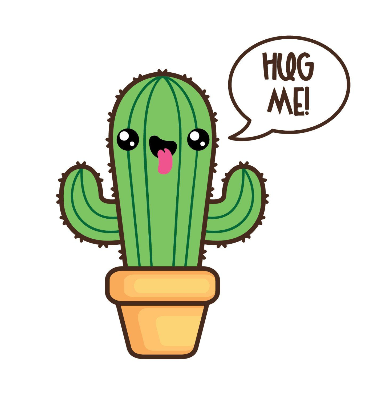 Cactus simple. Kawaii clipart succulent cacti