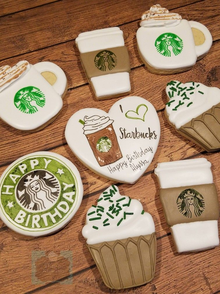 I love starbucks birthday sugar cookies Keri's Kreations #starbuckscake