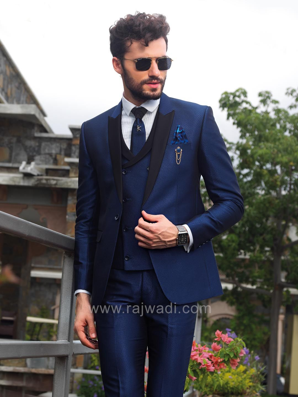 Navy Blue Color Suit Rajwadi Menswear Mensfashion