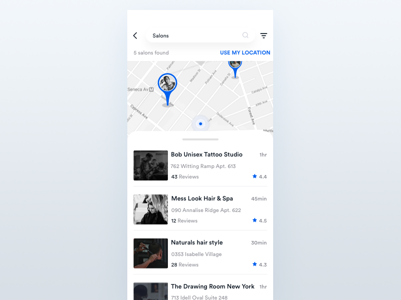 Map And List View 디자인