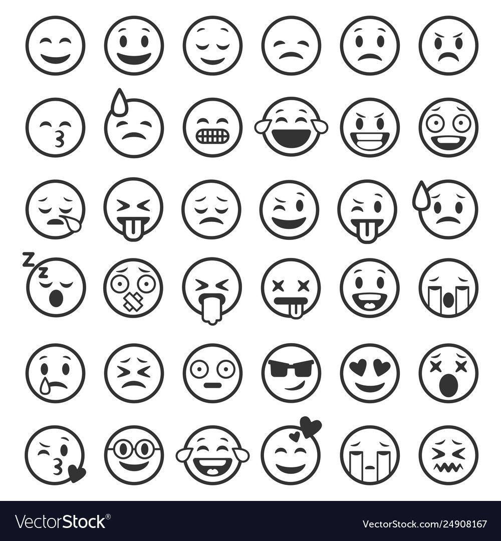Emoticons Outline Emoji Faces Emoticon Funny Smile Line Black Icons Expression Smiley Facial People Humor Mood Flat Vector Isola In 2020 Emoji Faces Hand Emoji Emoji
