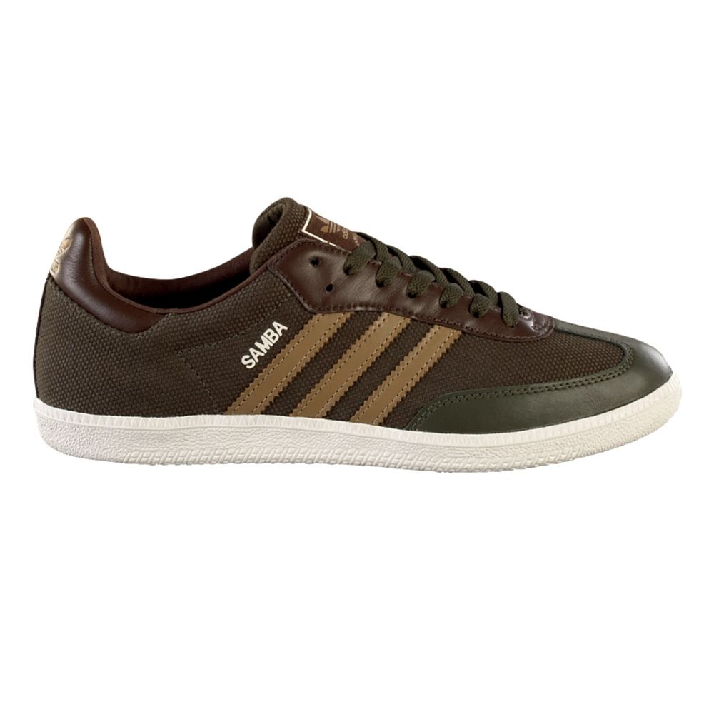 Mens adidas Samba Woven Athletic Shoe - Dark Green/Brown $64.99