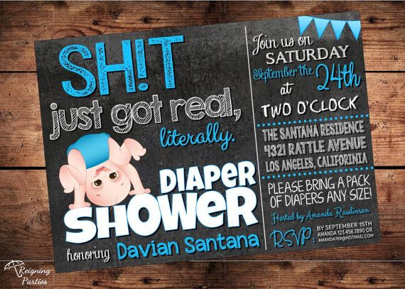 The Original Sht Just Got Real Funny Baby Shower Invitation